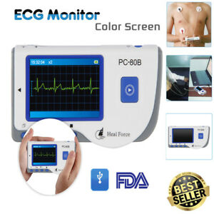Color Lcd Heal Force Ecg Ekg Heart Monitor System With Lead Cable 50 Electrode