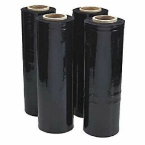 18 X 1500 80 Ga 4 Rolls Pallet Wrap Stretch Film Hand Shrink Wrap 1500ft Black