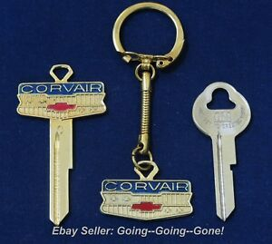 Set Chevy Corvair 18kt Gold Crest Key Blank Key Chain Ign Trnk Keys 1960 66