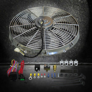 Heavy Duty 16 Chrome Electric S Blade Cooling Radiator Fan W Thermostat Kit