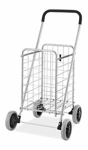 Utility Shopping Folding Cart Basket With Wheels For Laundry Travel Grocery New