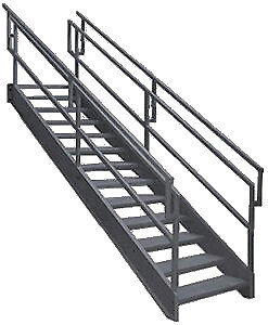 Steel Stairs With Outboard Guard