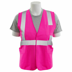 Erb Non ansi Reflective Safety Vest With Pockets Pink