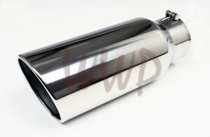 Polished Stainless Bolt On Angle Cut Roll Exhaust Tip 5 Inlet 8 Outlet 18 long
