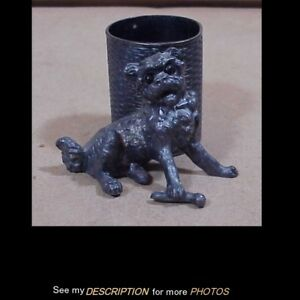 Antique Victorian Tufts Silver Plate Figural Toothpick Holder Dog