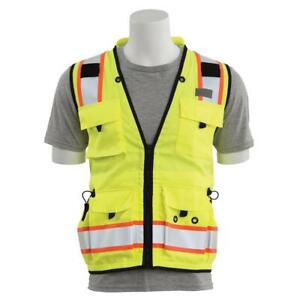 Erb Heavy Duty Class 2 Reflective Surveyor Safety Vest With Pockets Yellow lime
