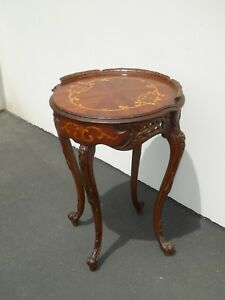 Vintage French Rococo Carved W Inlay Side Table End Table