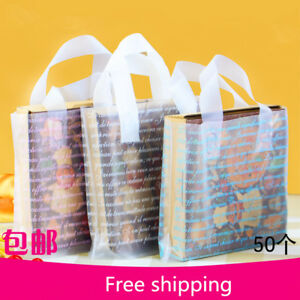 50pcs Soft Smooth Plastic Hand Bag Shopping Carrier Gift Bag For T shirt Bread