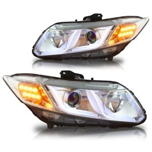 Chrome Clear Projector Drl Head Lights For 2012 2014 Honda Civic 4dr Sedan Set
