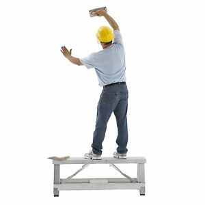 Lift Step Workbench Aluminum Adjustable Drywall Bench Lightweight Equipment New