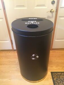 Trash Recycling Unit Black Metal Body Two openings With Plastic Liners Luxury