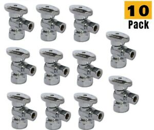 Plumbing Lot 10 Pcs 1 4 Turn Brass Angle Stop Valve 3 8 Od Comp X1 2 Fip