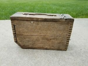 WW1 Wooden Ammo Box - dove tail leather handle