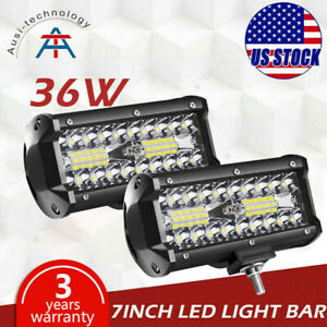 2x 7inch 36w Spot Led Work Light Bar Offroad Atv Driving Fog Lamp Truck 4wd 12v