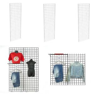 Display Grid Rack 3 Pack 6 Ft White Retail Metal Stand Wall Store Wire Organizer