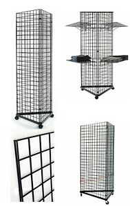 Display Grid Rack 3 Sided 6 Ft Panel Metal Stand Retail Store Craft Wire Shelf