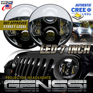 Projector Led Headlights With Cree Chips Best Beam Pattern For Jeep Wrangler