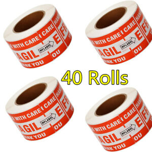 40 Rolls 500 roll 3x5 Fragile Stickers Handle With Care Shipping Mailing Labels