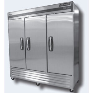Norlake Nlf72 s Reach in Freezer 3 Stainless Steel Doors 78 Wide 4 Casters