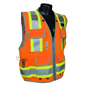 Radians Class 2 Heavy Duty Engineer Safety Vest With Pockets Orange