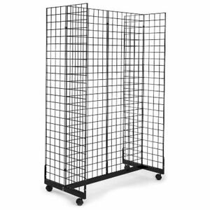 Display Grid Rack 6 Ft Panel Rolling Metal Retail Wall Store Wire Stand Fixture