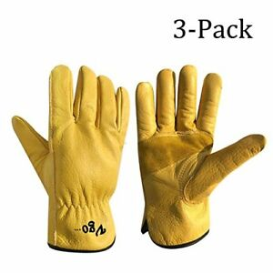 Vgo Unlined Cow Grain Leather Work And Driver Gloves With Cow Split Leather