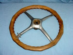 Vintage Dill Wood Wooden Locking Big Man Steering Wheel Hot Rat Rod Boat Antique