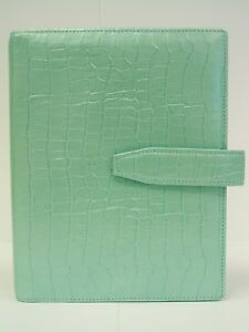 Compact Franklin Covey Leather Binder Pearl Croc 1 Ring new