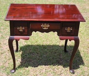 Antique American Queen Anne Carved Mahogany Desk Hersee Co Furniture