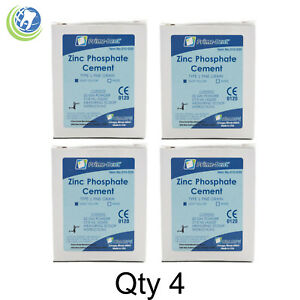 4x Dental Zinc Phosphate Cement Kit Permanent Crown Bridge Veneer Light Yellow