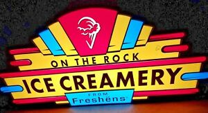 Rare Large Freshens Ice Cream Hanging Lighted Sign New In Crate Double sided