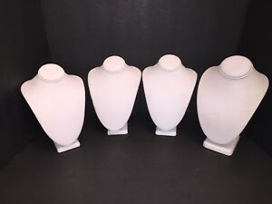 Store Display Fixtures Medium White Necklace Bust Jewelry Display 7 8 Lot Of 4