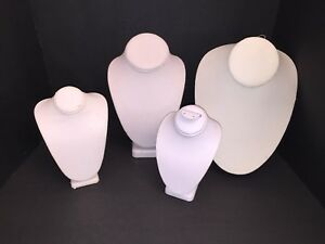 Store Display Fixtures Sm Med White Necklace Bust Jewelry Display Lot Of 4
