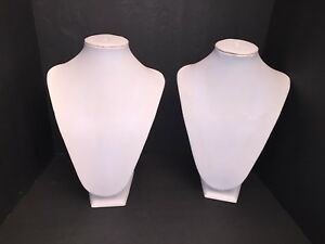 Store Display Fixtures Large 12 5 White Necklace Bust Jewelry Display Lot Of 2