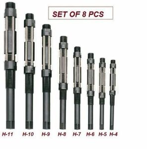 Adjustable Hand Reamer Set Of 8 Pcs H4 To H11 Size 15 32 To 1 1 16