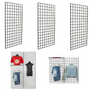 Display Grid Rack 3 Pack 4 Ft Panel Retail Metal Stand Store Art Craft Organizer