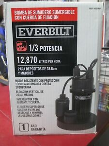New Everbilt 1 3 Hp Aluminum Submersible Sump Pump With Tether Sba033bc
