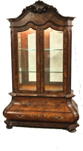 Vintage Burl Wood China Cabinet Bombay Chest Display Case Breakfront