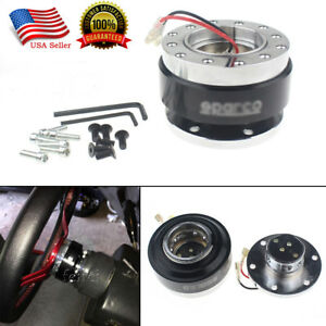Universal Steering Wheel 6 Hole Ball Bearing Quick Release Hub Adapter Kit Black
