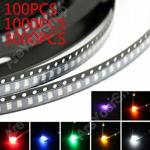 1206 Smd Smt Led Red Green Blue Yellow White Orange Purple 7colours Light Usa