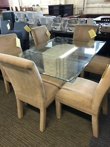 Glass Dining Room Table W 6 Chairs