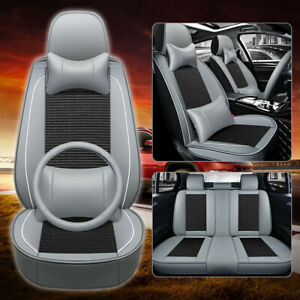 Cooling Mesh pu Leather Seat Covers Universal 5 Seats Car Suv Front rear Cushion