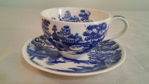 Nasco Hand Painted Blue White Lakeview Tea Cup And Saucer Made In Japan