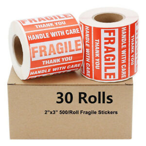 30 Rolls 500 roll 2x3 Fragile Stickers Handle With Care Thank You Free Shipping