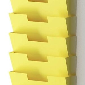 Wall Mount Steel Vertical File Organizer Holder Office Paperwork Reports Yellow