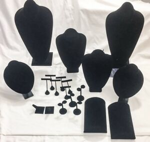 Jewelry Display Stands Bust Black Velvet 20pc Set Necklace Earring Bracelet Ring