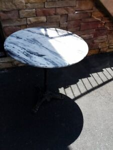 Black White Marble Table With Cast Iron Base
