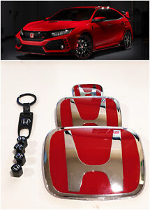 Speed Red H Emblem 3pcs Set Front Rear For 06 11 Honda Civic Coupe Dx Ex Lx Si