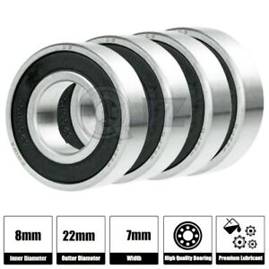 4x Ss 608 2rs Ball Bearing Roller Skate Board Long Board Inline Stainless Steel