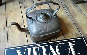 Antique Victorian Large Solid Copper Square Fireplace Kettle